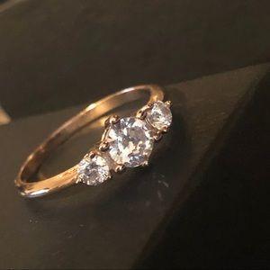 18KT Rose Gold Three Stone Simulated Diamond Ring